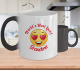 Grandma Gift Coffee Mug - Color Changing Ceramic - 11  oz - Grandparent's Day - Mother's Day - World's Most Loved - Heart Eyes Emoticon - The VIP Emporium