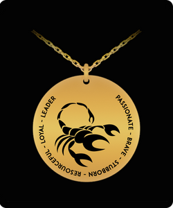 Scorpio Pendant Necklace - 18k Gold plated - Laser-engraved