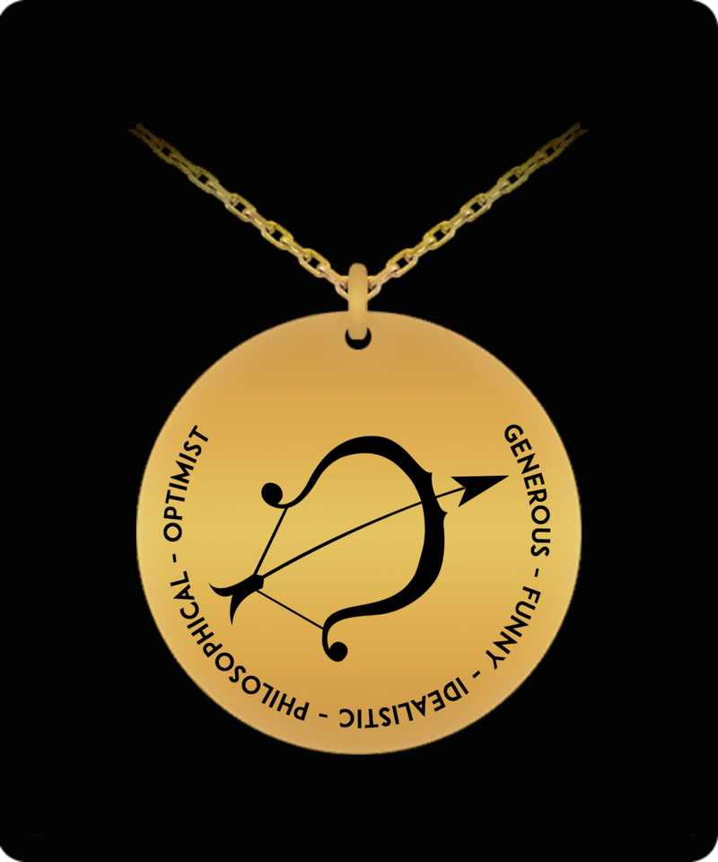 Sagittarius Pendant Necklace - 18k Gold-plated - Laser-engraved gift