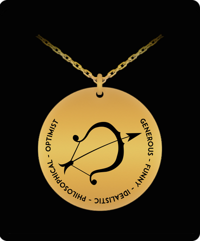 Sagittarius Pendant Necklace - 18k Gold-plated - Laser-engraved gift - The VIP Emporium