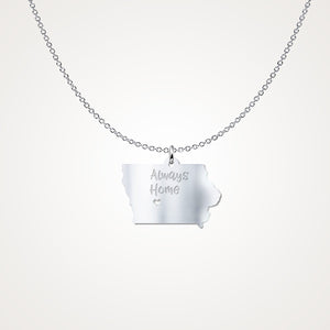 Iowa Always Home - Sterling Silver Necklace - Gift Idea