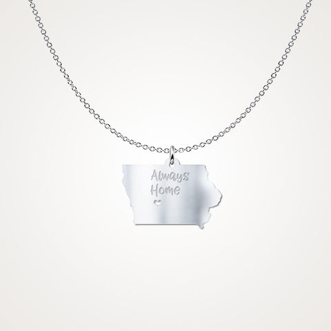 Iowa Always Home - Sterling Silver Necklace - Gift Idea - The VIP Emporium