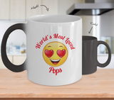 Pops Gift Coffee Mug - Color Changing Ceramic - 11  oz - Grandparent's Day - Father's Day - World's Most Loved - Heart Eyes Emoticon - The VIP Emporium