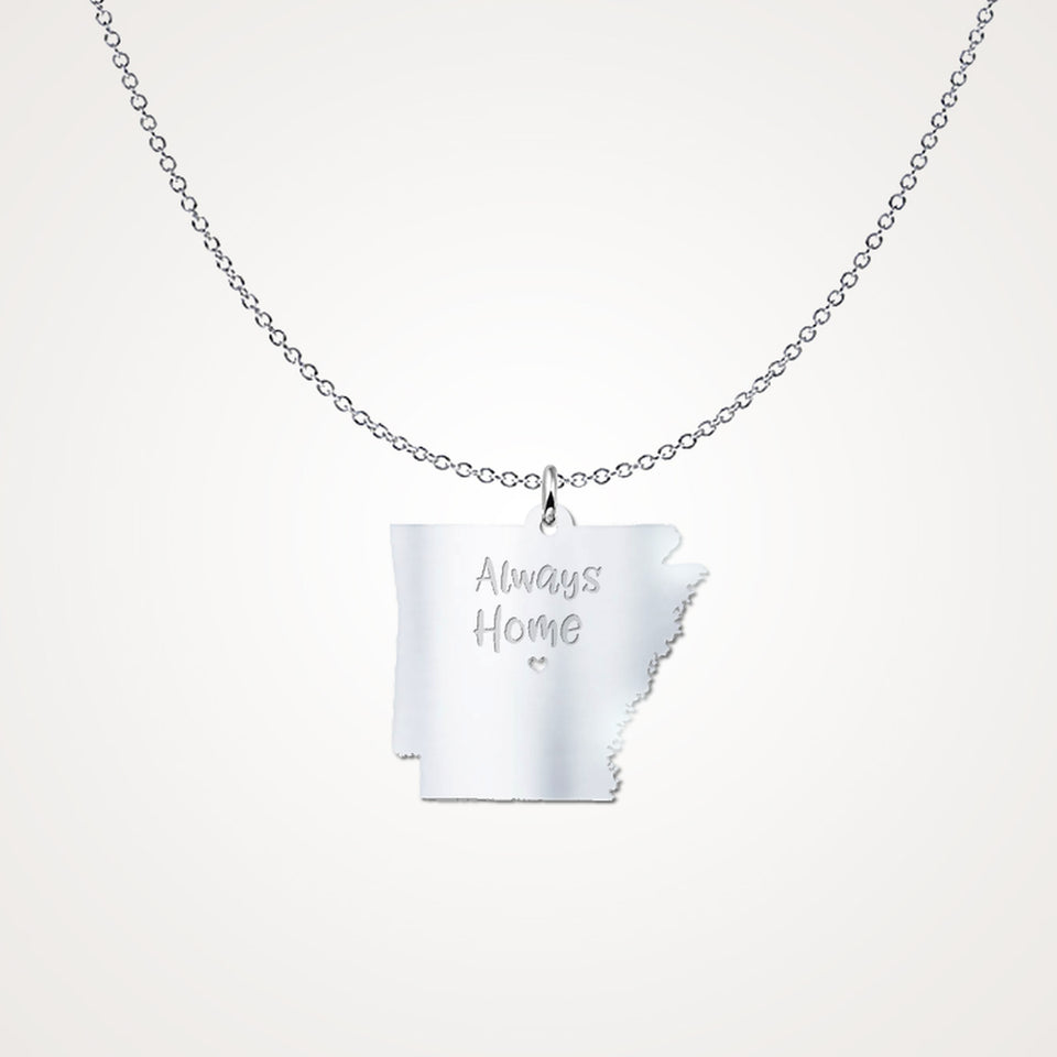 Arkansas Always Home - Solid Sterling Silver Gift Necklace