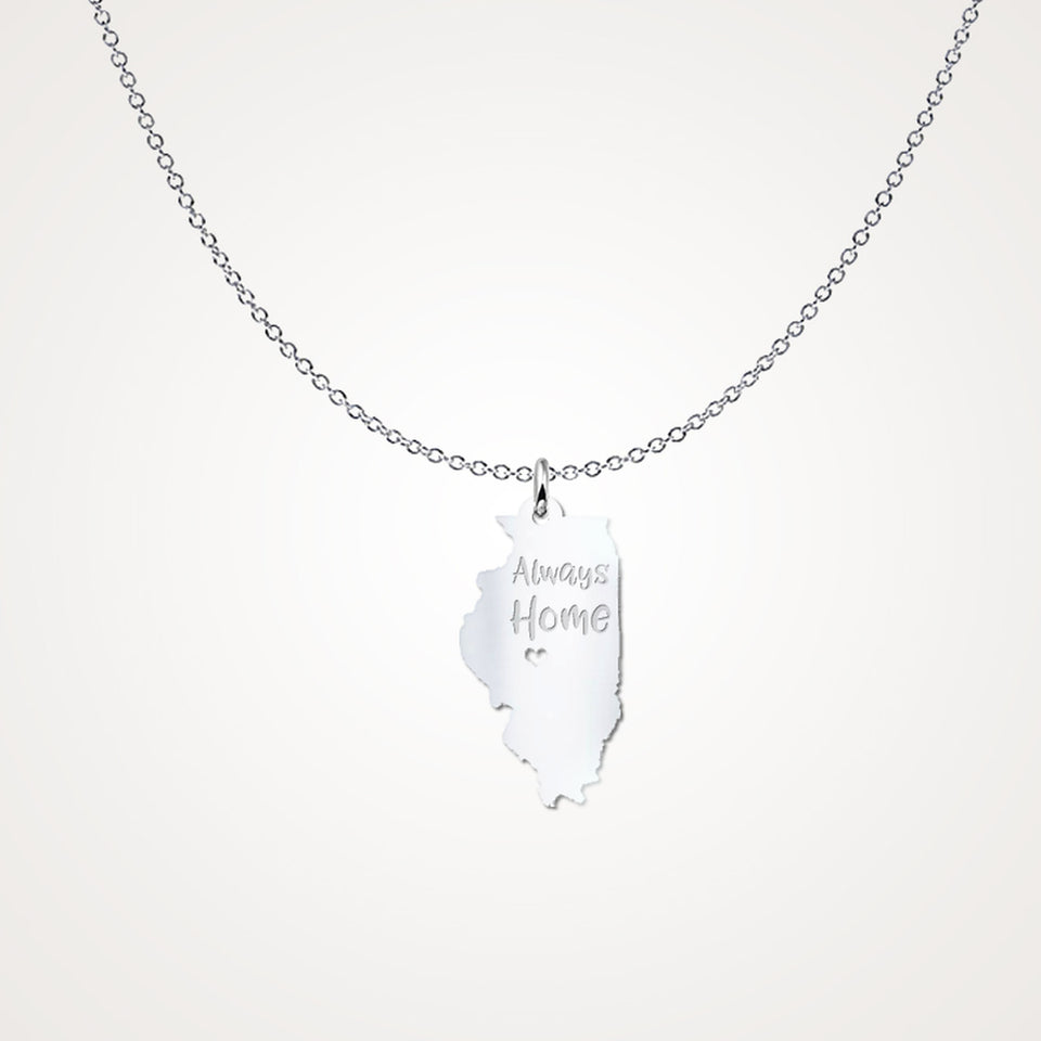 Illinois Always Home - Solid Sterling Silver - Gift Idea
