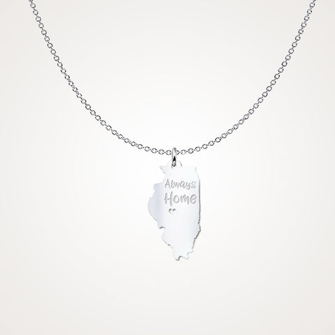 Illinois Always Home - Solid Sterling Silver - Gift Idea - The VIP Emporium