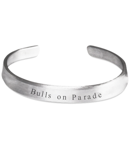 Bulls on Parade unique handstamped bracelet for Houston fan