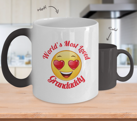 Grandaddy Gift Coffee Mug - Color Changing Ceramic - 11  oz - Grandparent's Day - Father's Day - World's Most Loved - Heart Eyes Emoticon - The VIP Emporium