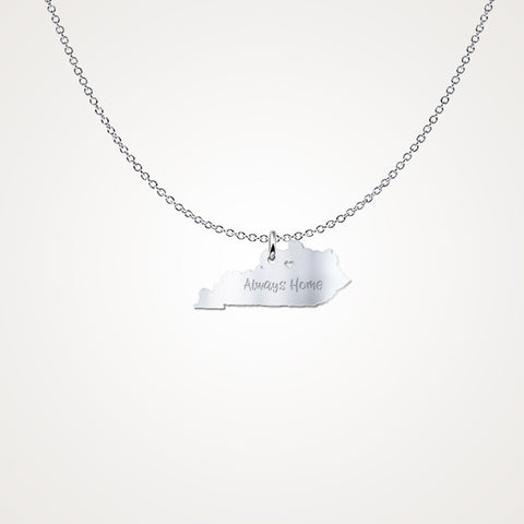 Kentucky Always Home Gift Necklace - Solid Sterling Silver - The VIP Emporium