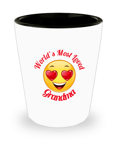 Grandma Gift Shot Glass -  Ceramic -  - Grandparent's Day - Mother's Day - World's Most Loved - Heart Eyes Emoticon - The VIP Emporium