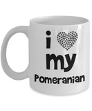 I Love My Pomeranian Gift Mug - Ideal gift for Pomeranian Mom or Dad - 11oz Quality Ceramic, Printed in USA