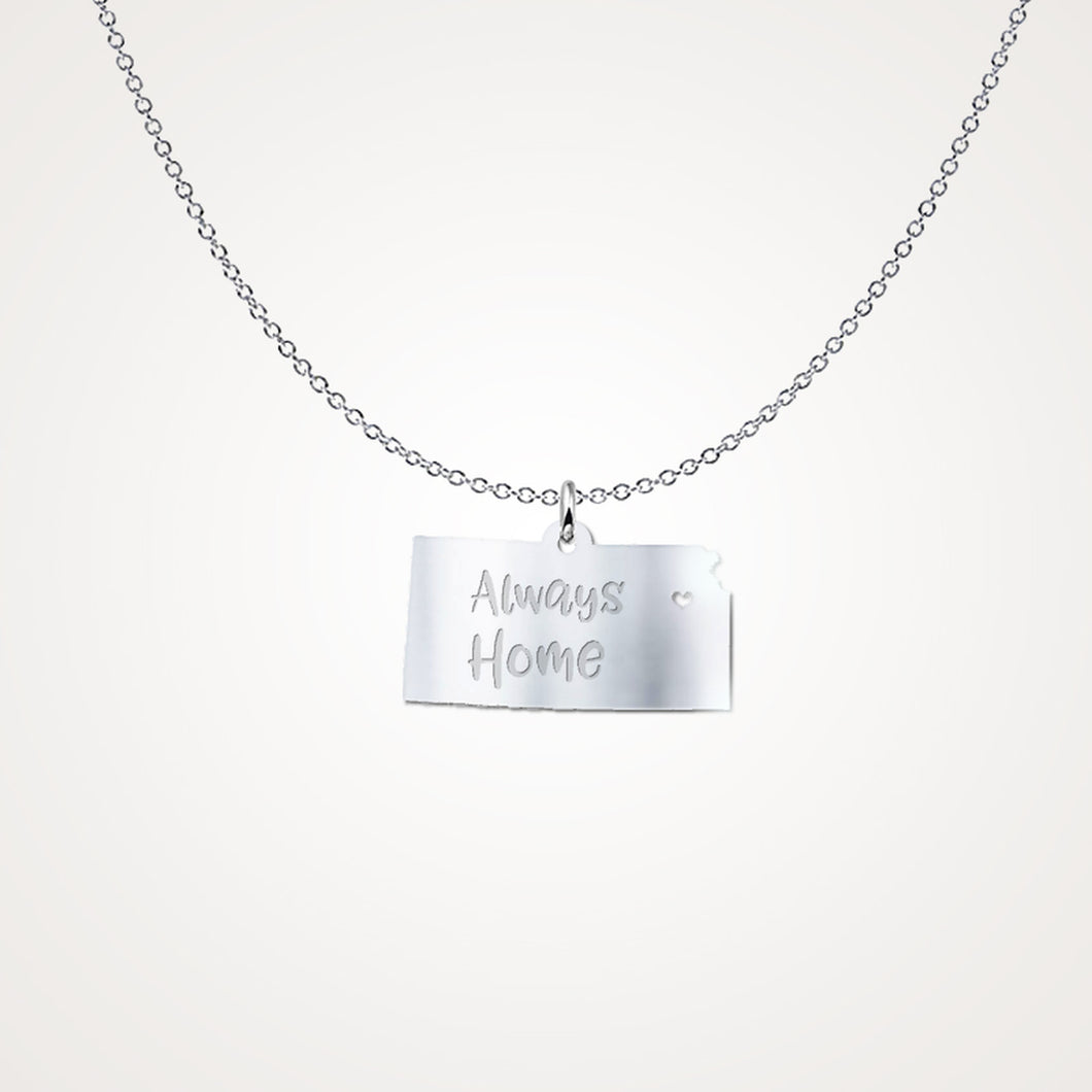 Kansas Always Home Solid Sterling Silver Necklace - Gift Idea