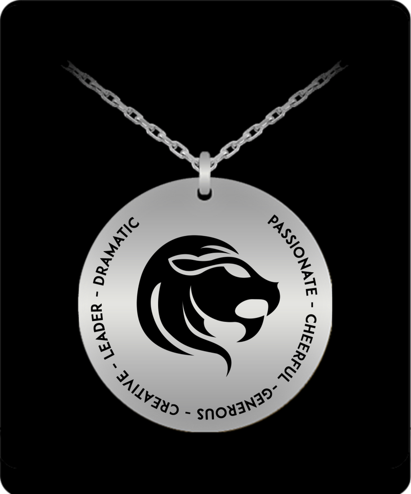 Leo Pendant Necklace - Laser-engraved Stainless Steel - Gift for Leo starsign