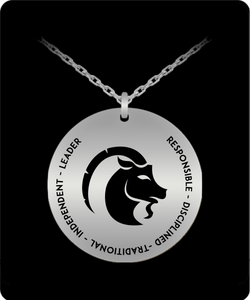 Capricorn Pendant Necklace - Laser-engraved - Stainless Steel