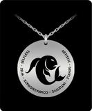 Pisces Pendant Necklace - Laser-engraved Stainless Steel - Gift for Piscean