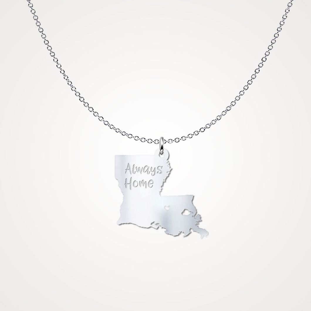 Louisiana Always Home Solid Sterling Silver Gift Necklace