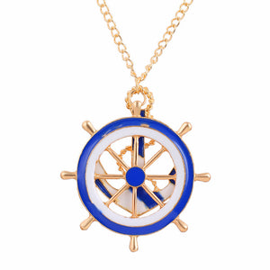 Navy Wind Anchor Blue and White Long Necklace Sweater Chain