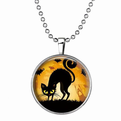 Thriller Halloween Cat Pendant Necklace Luminous
