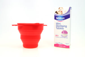 Milton Mini Sterilising Tablets with Ruby Clean Sterilising Set - happeriod
