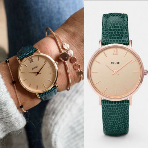 Montre CLUSE Minuit Rose Gold Champagne/Emerald Lizard CL30052