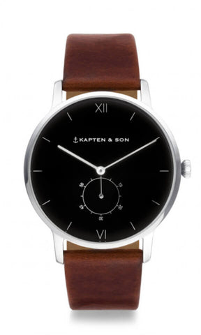 Montre Kapten & Son Heritage Silver Black Brown Leather