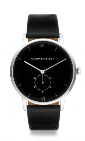 Montre Kapten & Son Heritage Silver All Black Leather