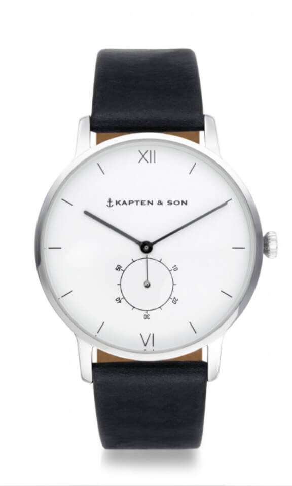 Montre Kapten & Son Heritage Silver Black Leather - PRECIOVS