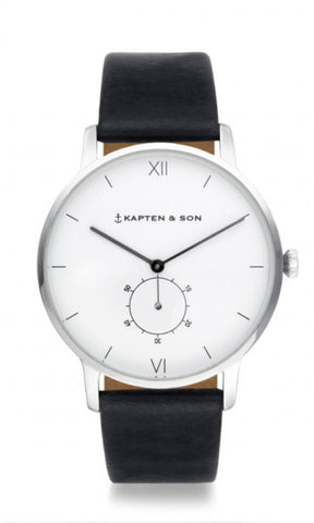 Montre Kapten & Son Heritage Silver Black Leather