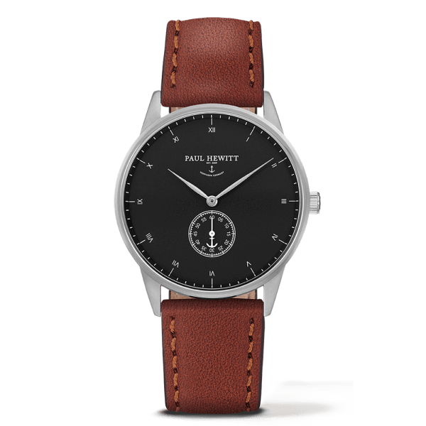 Montre Paul Hewitt Signature Line Black Sea Acier Inoxydable Bracelet Cuir Marron PH-M1-S-B-1M - PRECIOVS