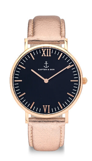 Montre Kapten & Son Black Rose Metallic Leather - PRECIOVS