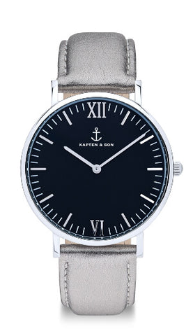 Montre Kapten & Son Black Silver Metallic Leather