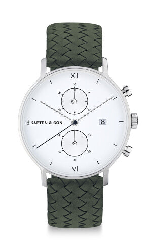Montre Kapten & Son Chrono Silver Pine Green Woven Leather