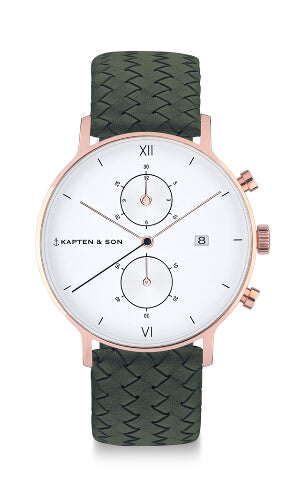 Montre Kapten & Son Chrono Pine Green Woven Leather