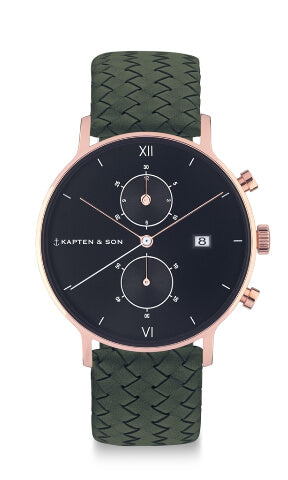 Montre Kapten & Son Chrono Black Pine Green Woven Leather