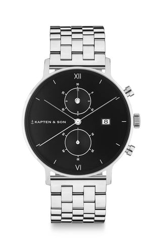 Montre Kapten & Son Chrono Silver Black Steel