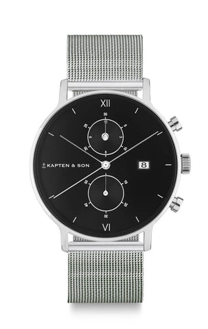 Montre Kapten & Son Chrono Silver Black Mesh