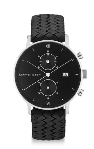 Montre Kapten & Son Chrono Silver All Black Woven Leather