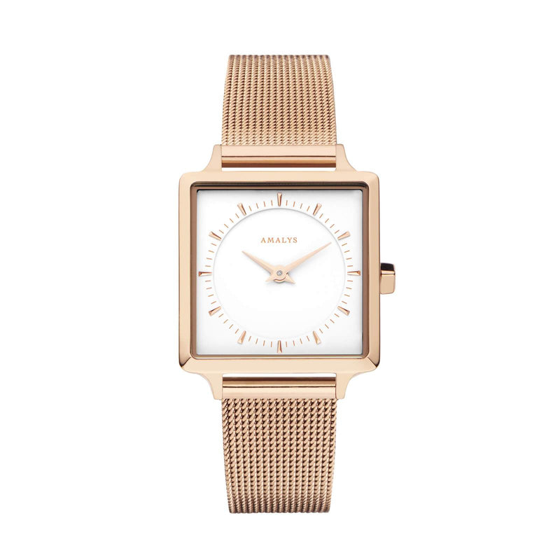 Montre Amalys Joy Mesh Rose Gold/White AMW-001 - PRECIOVS