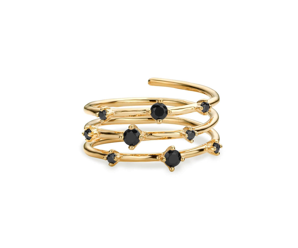 Bague MYA BAY Hoops - Pierres noires BA-67.G