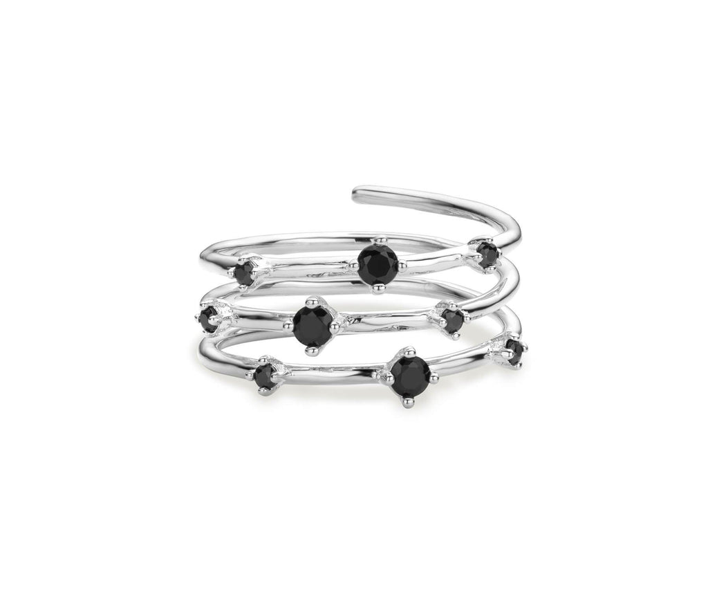 Bague MYA BAY Hoops - Pierres noires BA-67.S