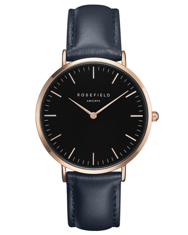 Montre Rosefield The BOWERY Black Blue Rose Gold BBBUR-B18 - PRECIOVS