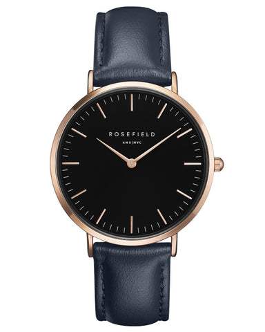 Montre Rosefield The BOWERY Black Blue Rose Gold BBBUR-B18