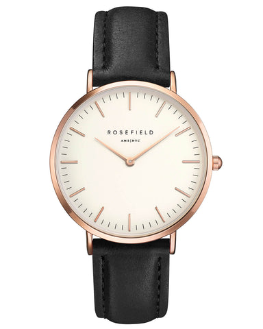 Montre Rosefield The BOWERY White Black Rose Gold BWBLR-B1