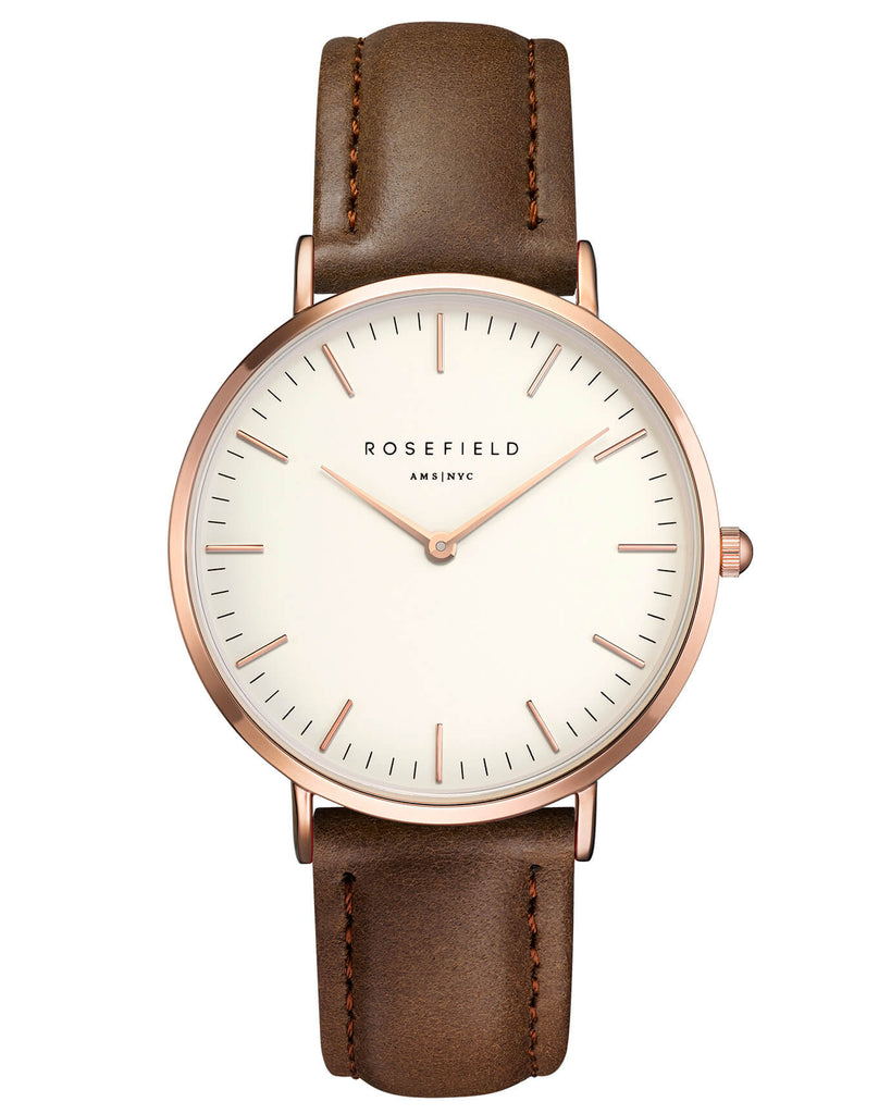 Montre Rosefield The BOWERY White Brown Rose Gold BWBRR-B3