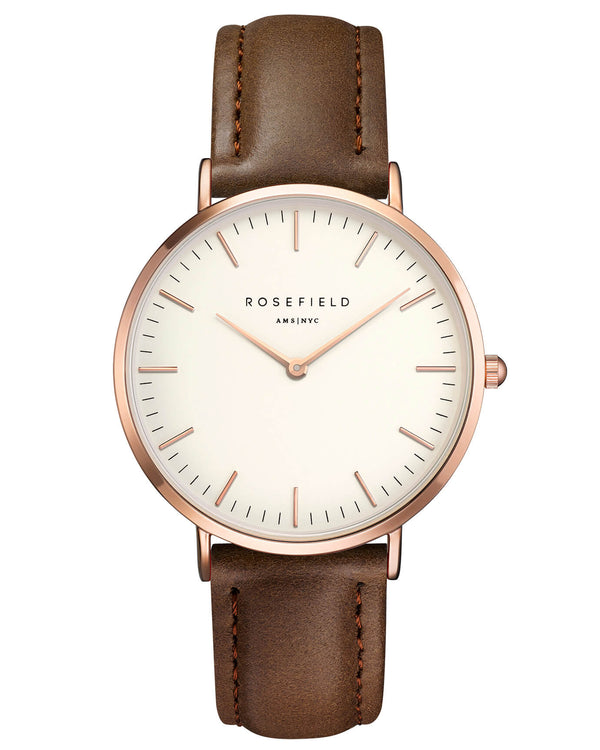Montre Rosefield The BOWERY White Brown Rose Gold BWBRR-B3 - PRECIOVS
