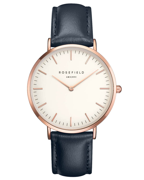 Montre Rosefield The BOWERY White Blue Rose Gold BWBUR-B14 - PRECIOVS