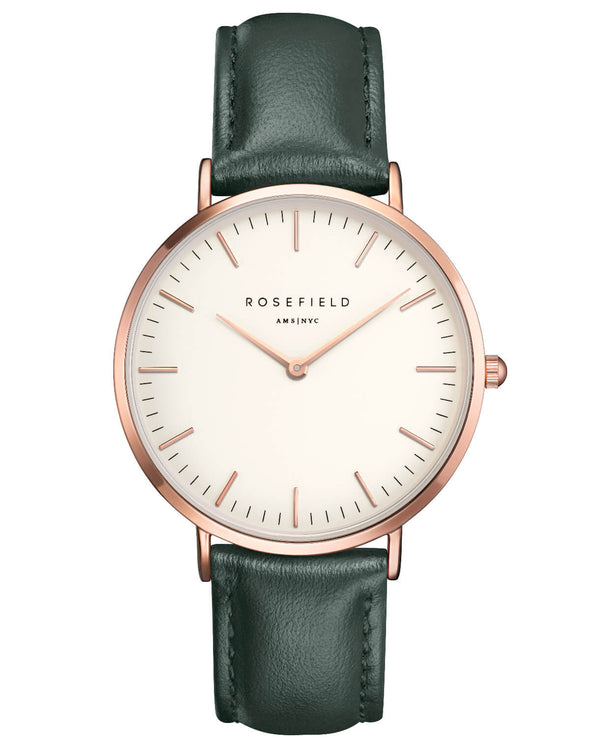 Montre Rosefield The BOWERY White Green Rose Gold BWGER-B16 - PRECIOVS