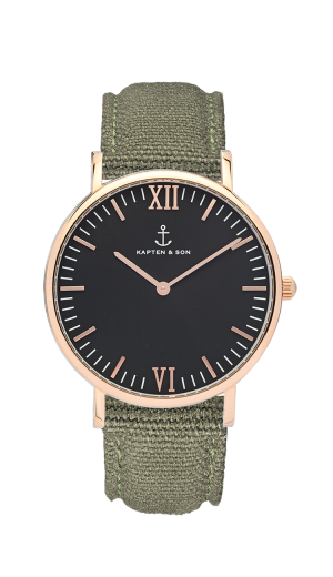 Montre Kapten & Son Black OLIVE Canvas