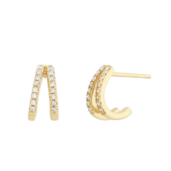 Boucles d'oreilles I.Ma.Gi.N Jewels Bo ring duo white Or Jaune - PRECIOVS
