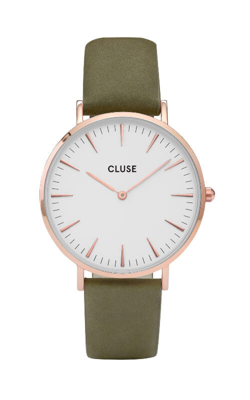 Montre CLUSE La Bohème Rose Gold White/Olive Green CL18023 - PRECIOVS